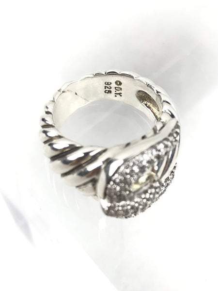 Sterling Silver Buckle Ring W/ Pave Diamonds