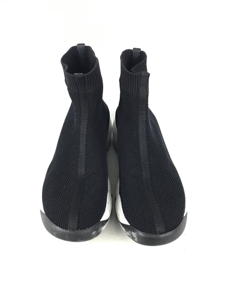 Black Sock Knit Fabric High Top Slip On Sneakers