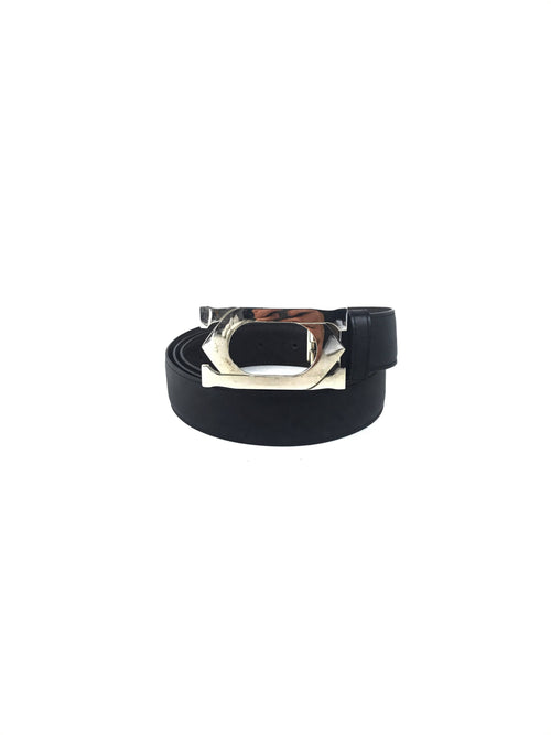 Black Smooth Leather Belt W/SHW