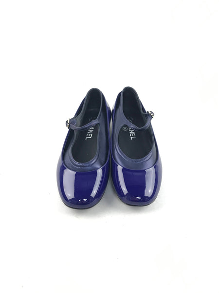 Cobalt Blue Patent Leather Other Open Rounded Toe Shoes W/GHW
