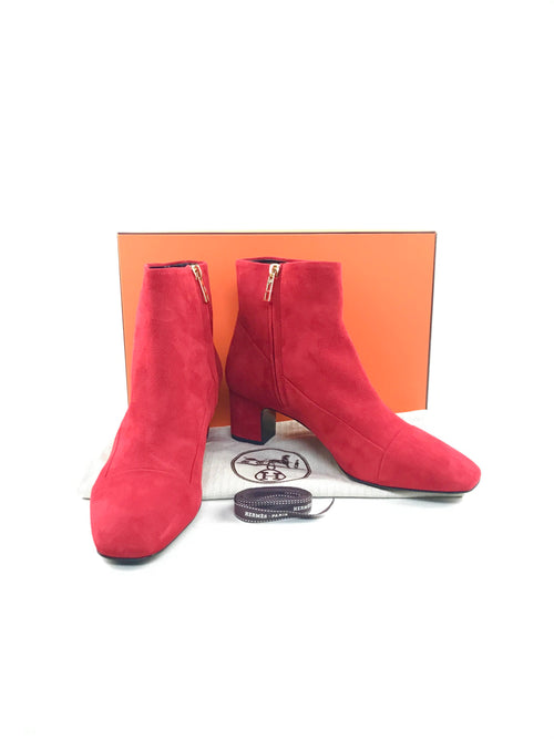 Red Suede Ankle Kitten Heeled Boots W/GHW
