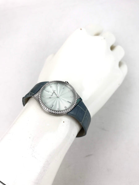 Stainless Steel Metro 28mm 2-Hand Watch W/ Blue Alligator Strap & Diamonds