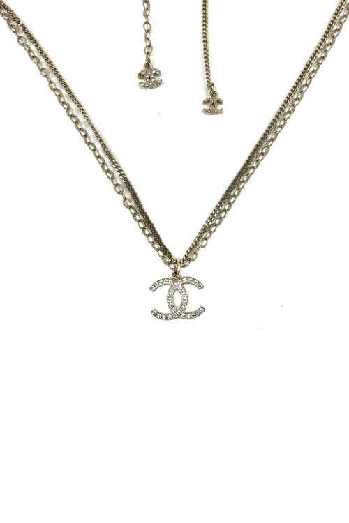 Gold Tone Layered Chain Crystal CC Necklace