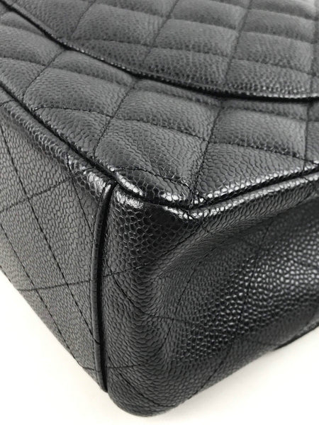 Black Caviar Maxi Flap Bag W/ GHW
