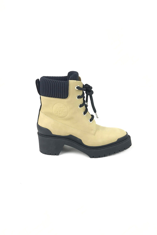Still Beige Suede Leather Combat Ankle Boots