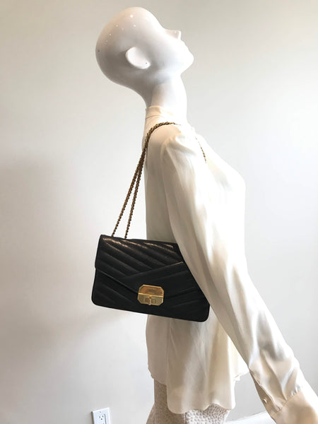 Black Lambskin Diagonal Quilted Medium Gabrielle Flap Bag W/ AGHW