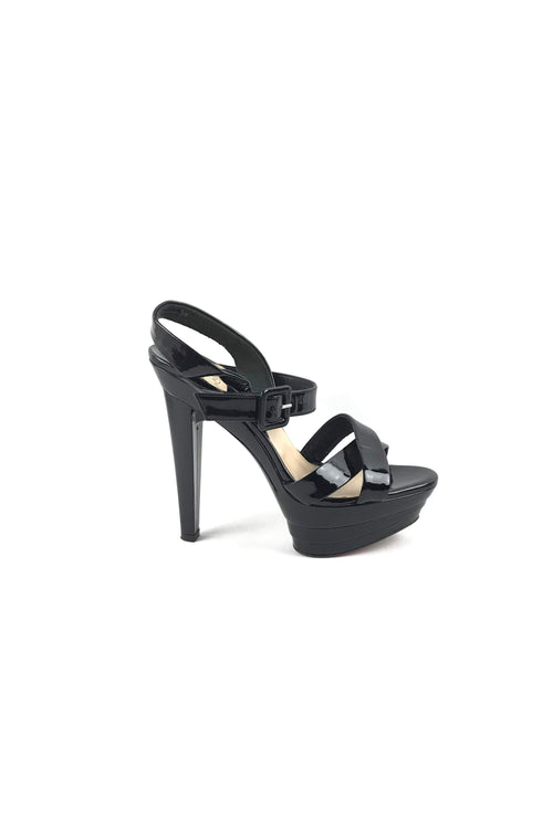 Black Patent Leather Open Toe Heeled Platform Sandals