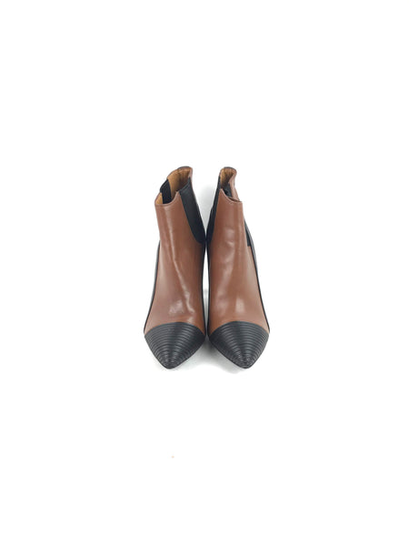 Black/Brown Smooth Leather Heeled Ankle Boots