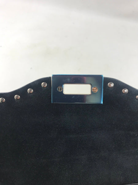 Black Grained Leather Top Handle Bag W/ Rockstud Accents W/LGHW