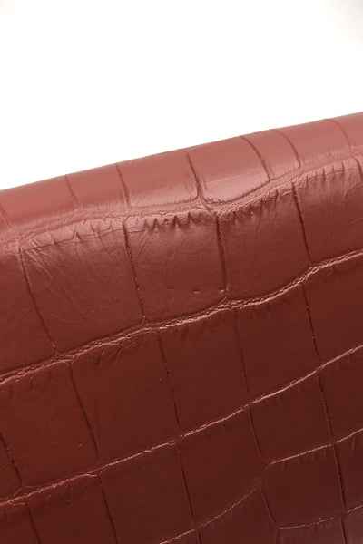 Burnt Orange Croc Embossed Calfskin Kate Chain Wallet Bag W/ SHW - ON LAYAWAY