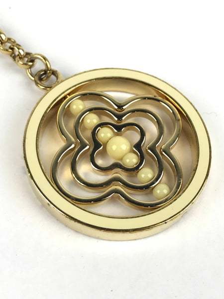 Gold/Cream Enamel Whirly Flower Bag Charm/Key Holder