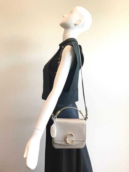 Motty Grey Shiny Calfskin/Suede Chloe C Small Bag