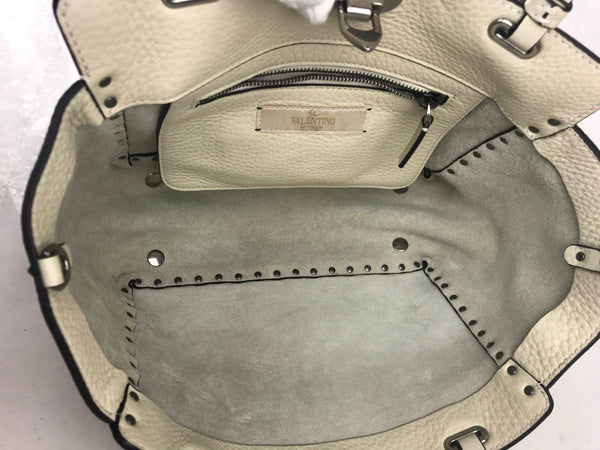 White Grained Leather Rockstud Satchel W/ RHW & Turquoise Stud Accents