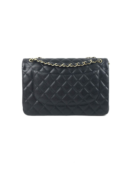 Black Caviar Quilted Classic Double Flap Jumbo Bag GHW