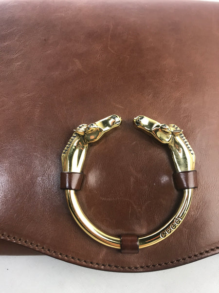 Brown Smooth Leather Clutch W/GHW Horse Accent Closure
