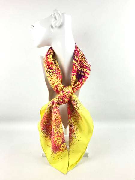 Citron/Salmon/Violet Indian Dust Silk Scarf
