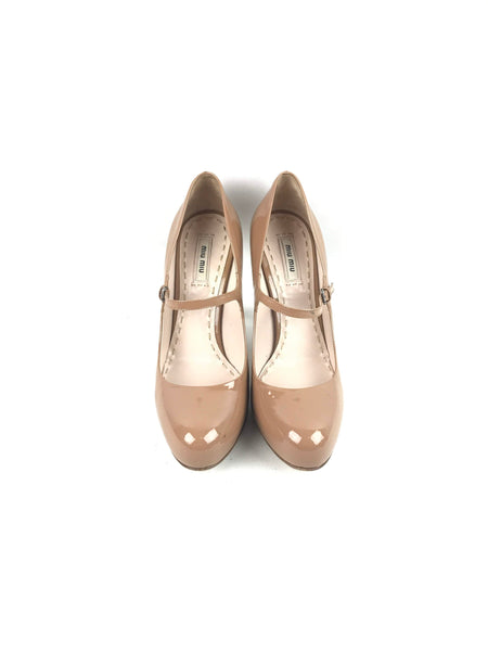 Caramel Patent Leather Mary-Jane Pumps