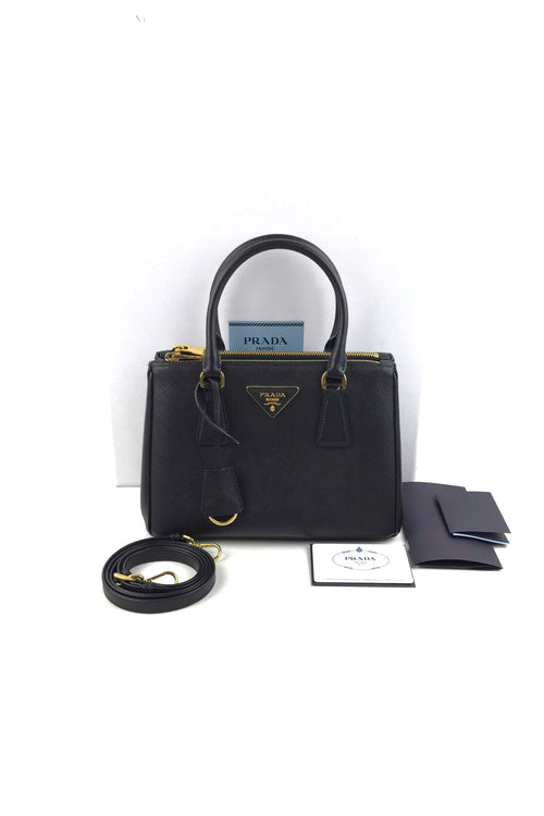Black Saffiano Leather Mini Double Lux Tote