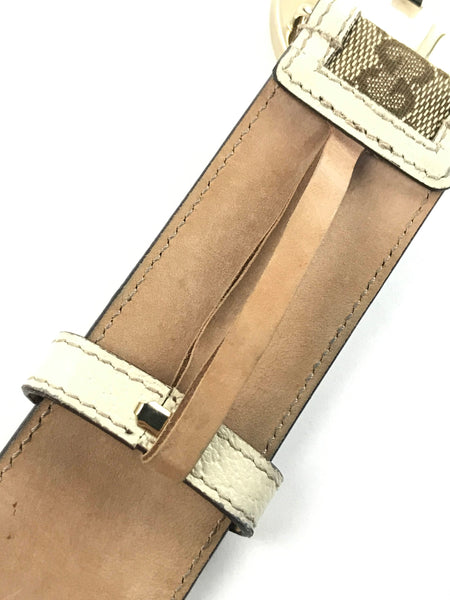 Vintage GG canvas/leather belt w/GHW