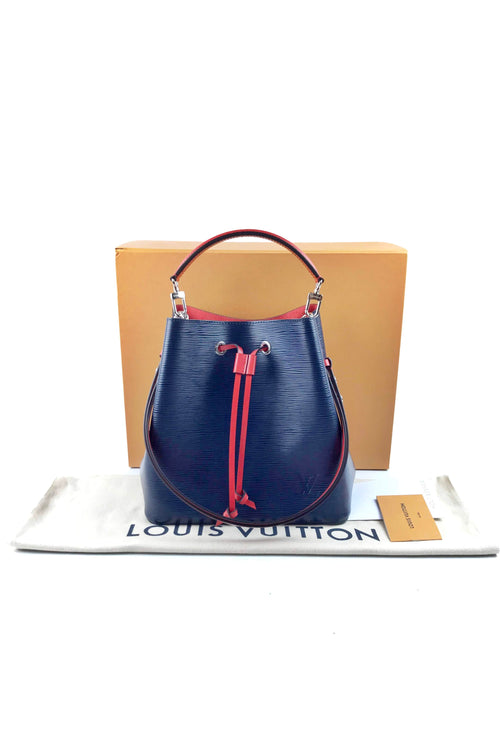 Indigo Epi Leather NeoNoe Bucket Bag W/ SHW
