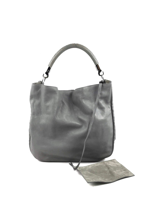 Grey Leather Roady Hobo Bag W/ SHW