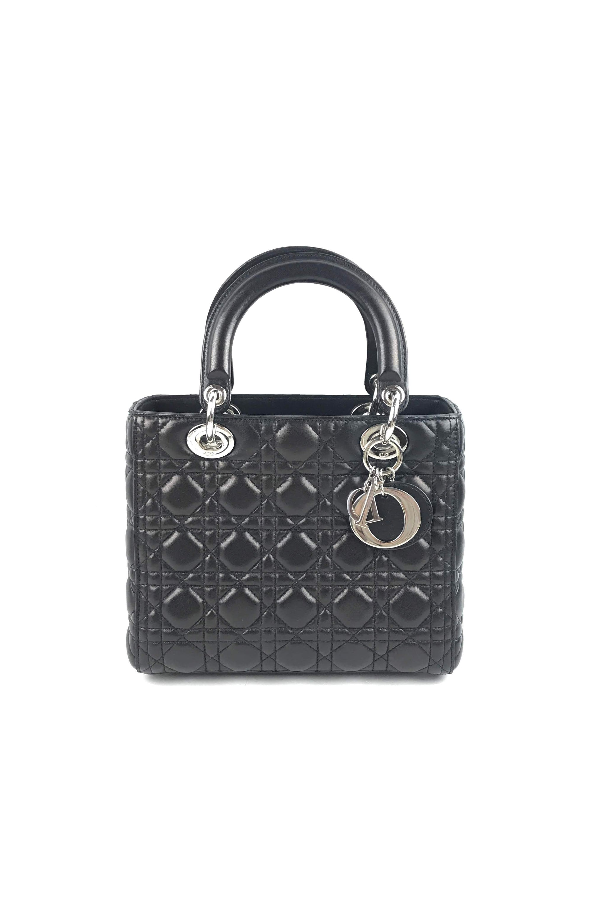 519d346d4e Black Lambskin Cannage Quilted Lady Dior Medium Bag – Haute Classics
