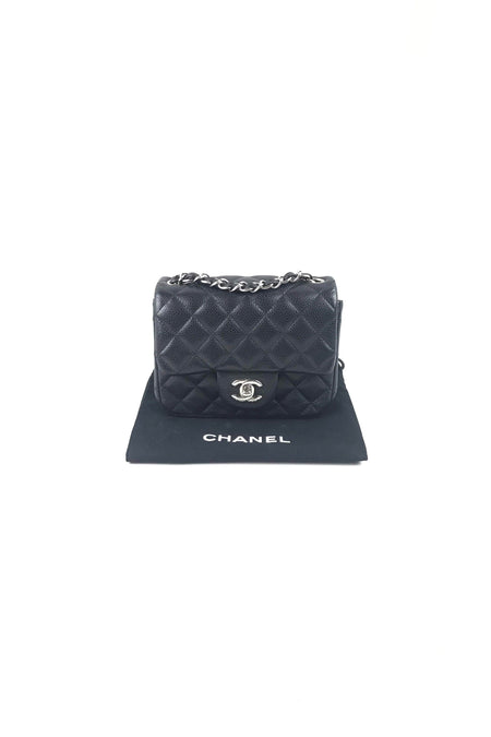 c2d2b028d98b ... Black Caviar Square Mini Flap Bag W/ SHW ...