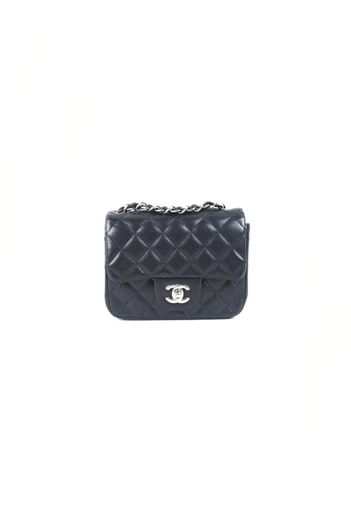 Black Caviar Square Mini Flap Bag W/ SHW