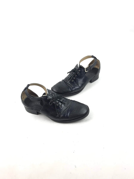 Black Leather Brogue Lace-Up Ankle Strap Oxford Sandals