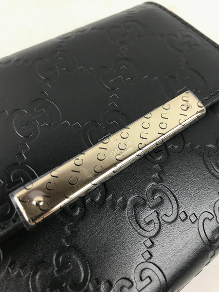 Gucci Black Smooth Leather Guccisima Monogram Bifold Wallet W/LGHW