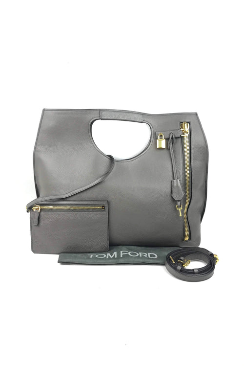 Grey Grained Leather Alix Tote W/ GHW