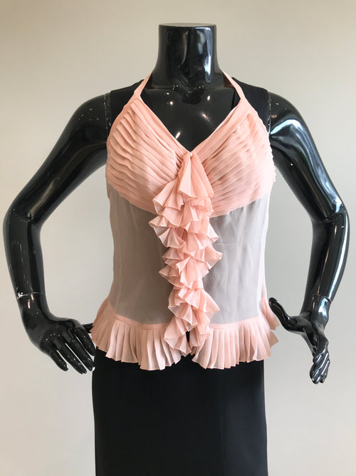 Pink Silk Pleated Peplum Tank Top Blouse W/ Costume Pearl Buttons
