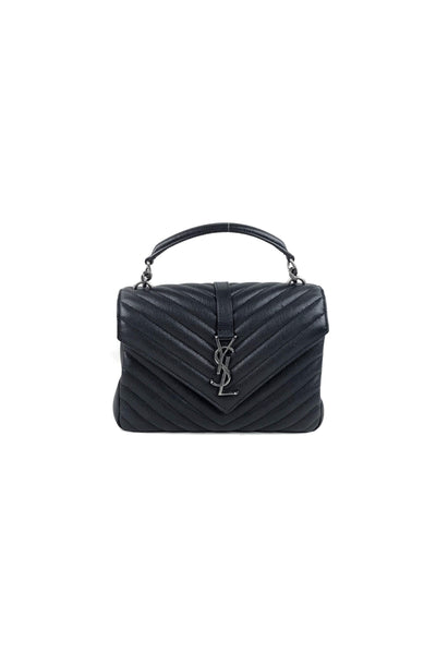 Black Lambskin College Matelasse Medium Bag