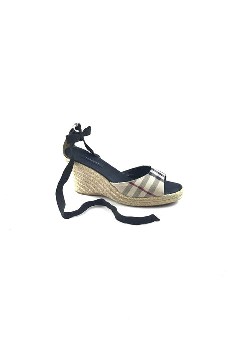 Black Grained Leather Espadrille Wedges