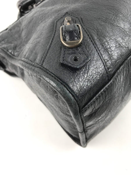 Black Crinkled Lambskin Small City Bag W/ ABHW - Haute Classics