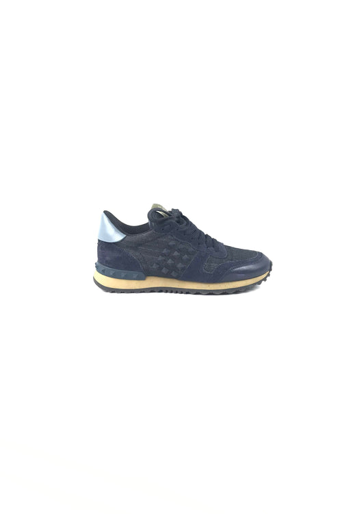 Navy Denim & Suede Studded Rock Runner Sneakers