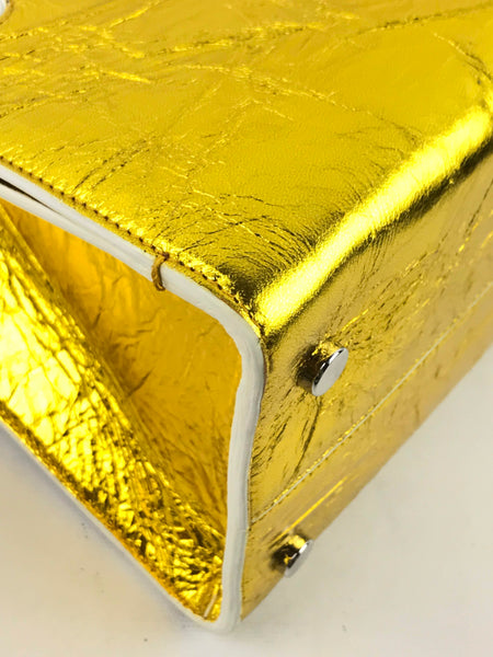 CD Metallic Gold Crinkled Calfskin Diorever Medium Bag