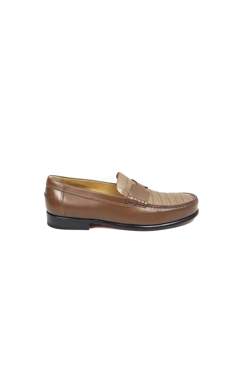 Brown Crocodile W/ Smooth Leather Kenned Men's Loafers