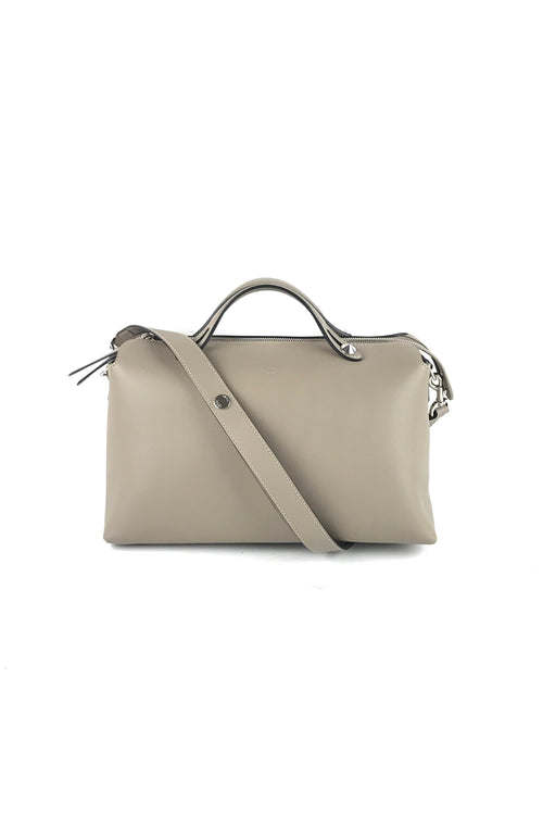 Beige Calfskin Large By The Way Boston Bag W/ Strap