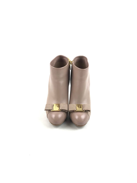 Almond Sooth Leather Royal Vera Bow Booties