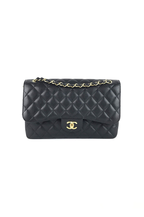Black Caviar Quilted Classic Double Flap Jumbo Bag W/ GHW
