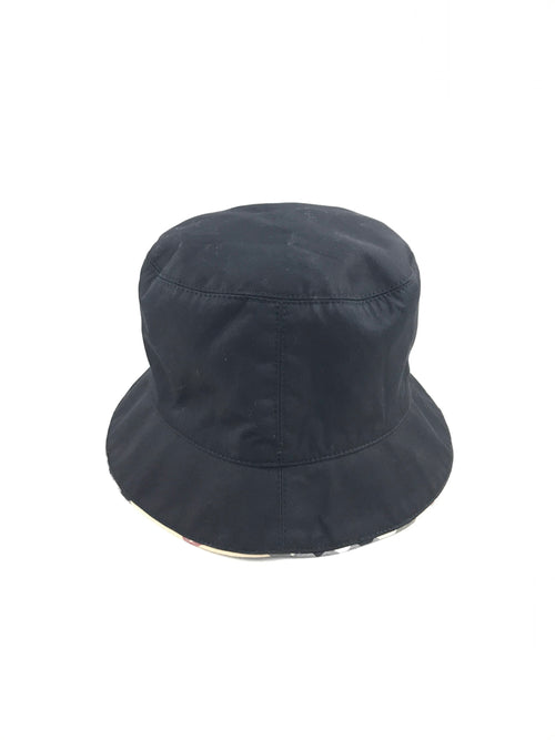 Black Nylon Nova Check Trimmed Bucket Hat
