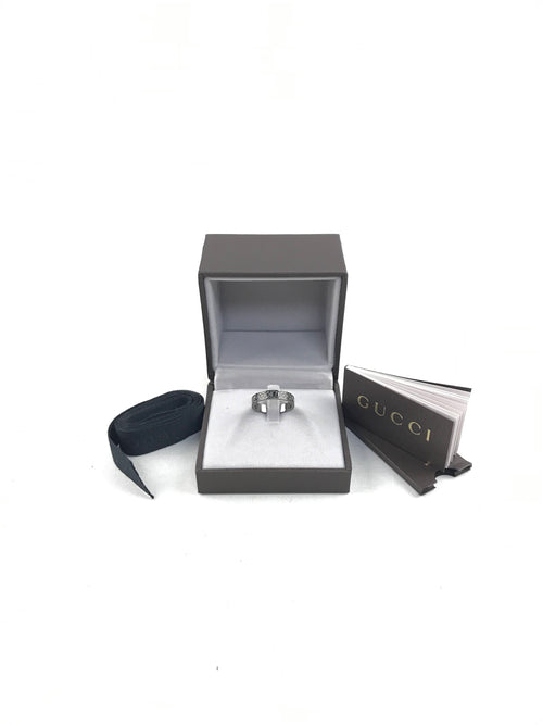 18K White Gold Black Diamond Stardust Thin Ring