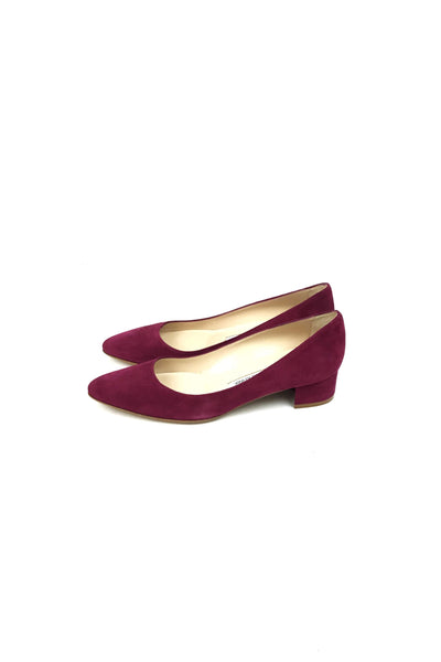 Magenta Suede Low Rounded Toe Heeled Ballet