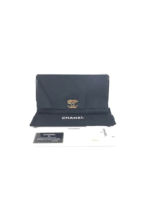 Black Patent Leather Golden Class East West Clutch