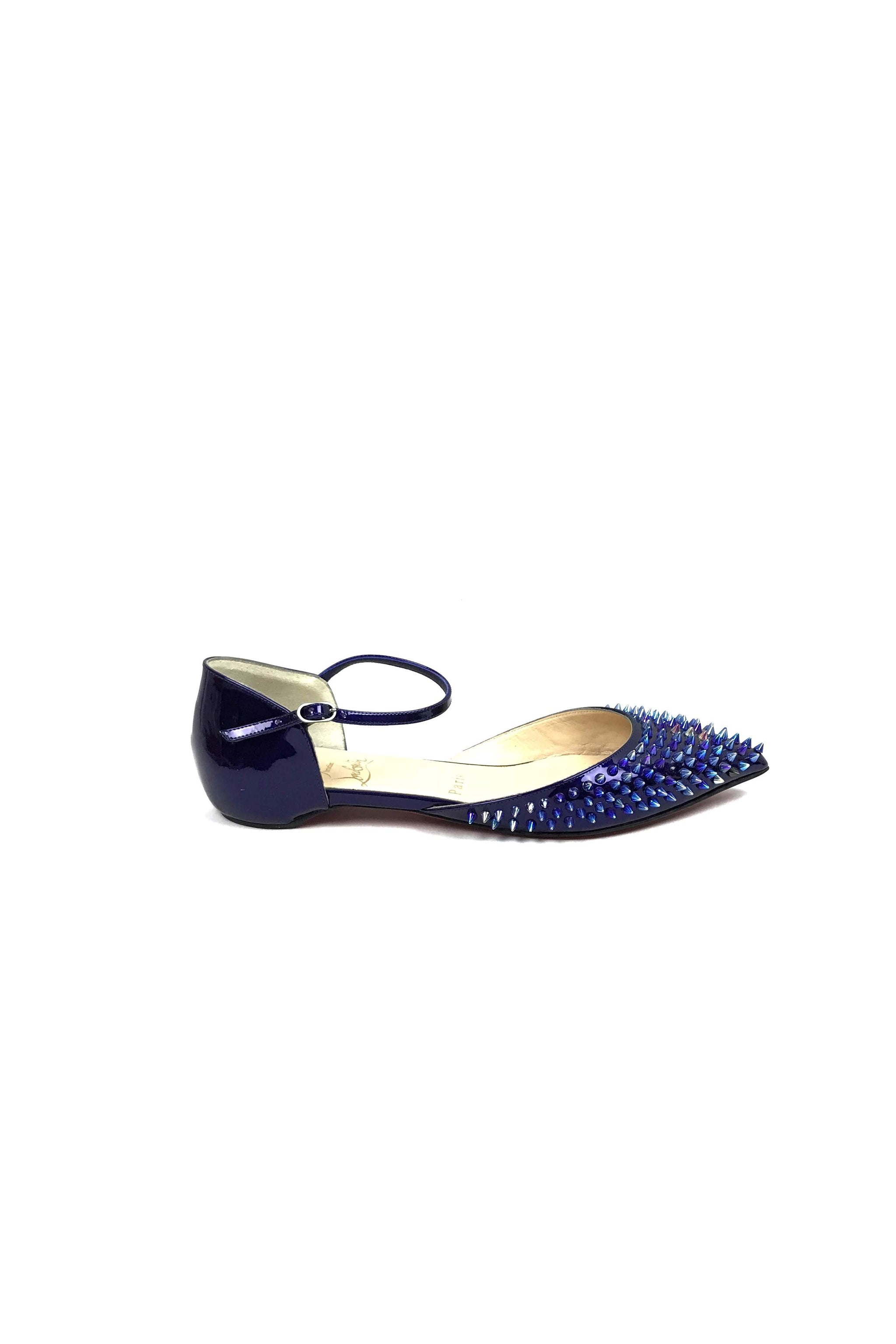 detailed look 6c416 83097 Baila Spike Glassy Patent Leather Electric Violet Iridescent Flat