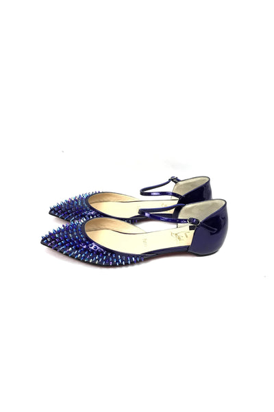 Baila Spike Glassy Patent Leather Electric Violet Iridescent Flat - Haute Classics