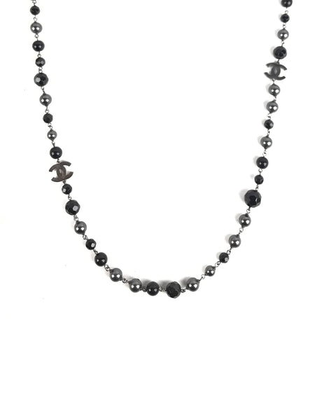 Black Pearl/Onyx CC Station Long Necklace - SOLD ON LAYAWAY