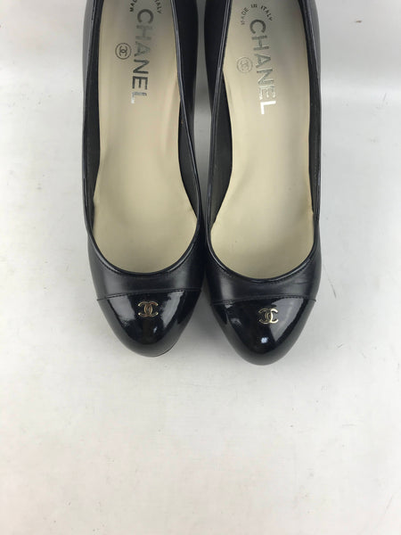 Black Smooth Leather Pumps With Patent Leather Cap Toe & Heel