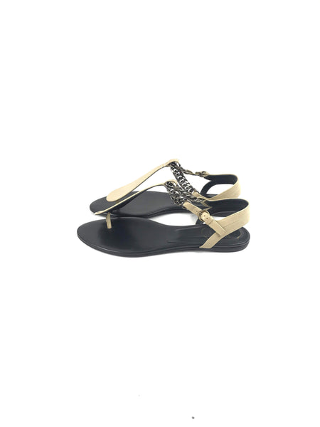 Beige Thong Sandals W/ Pewter Chain Embellishment